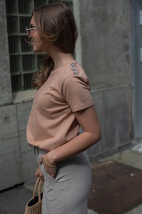 Molly Crystal T-Shirt Indian Tan Khaki