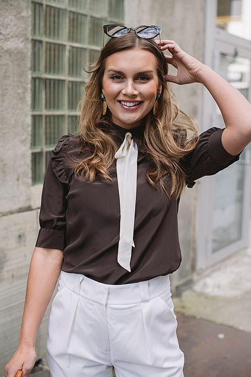 Custommade Pennie Shirt Mole Brown bluse