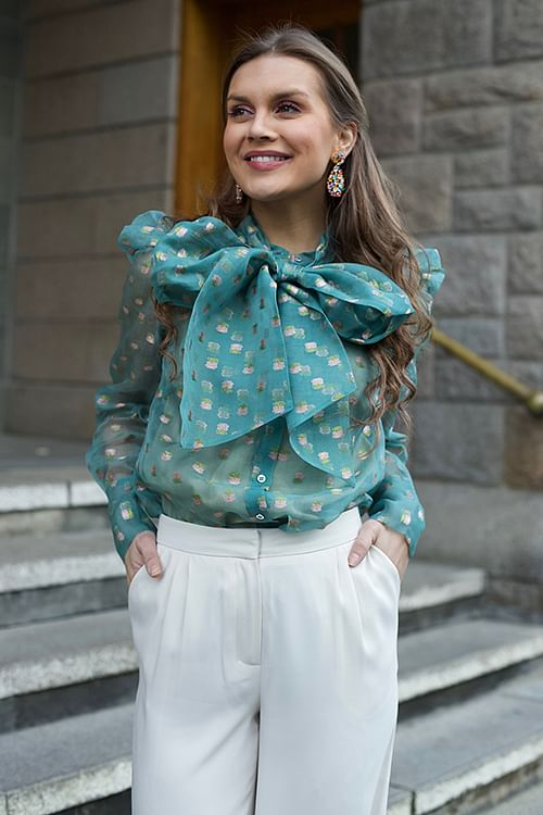 Custommade Zofja By Numbers Shirt Chalk Green bluse