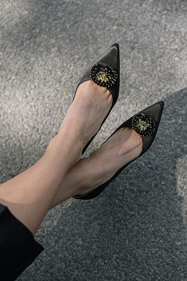 Aljo Crystal Pumps Anhtracite Black