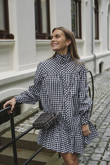 Elorie Dress Anthracite Checked Black