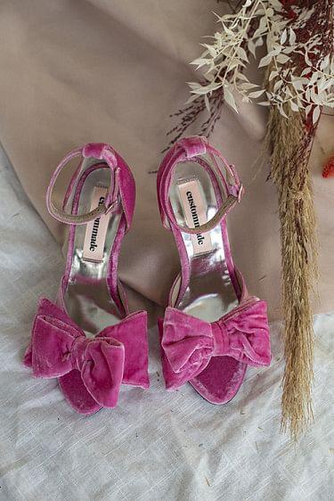 Marita Velvet Sandals Fuchsia Pink