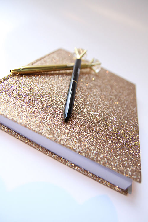 Dark glitter notebook gold
