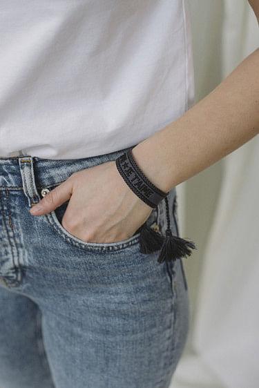 Woven Bracelet Je T´aime Charcoal