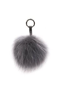 Raccoon Key Ring Pom Grey