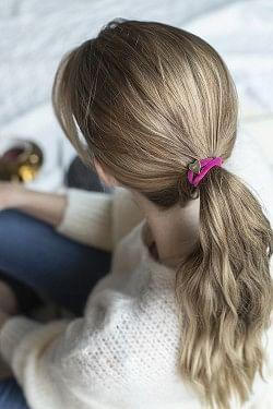 Velvet Hair Tie Heart Pink
