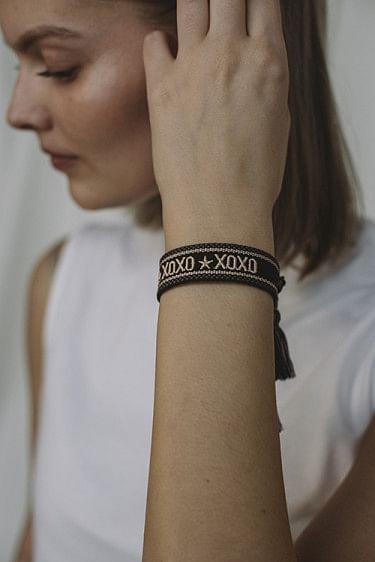 Woven Bracelet XOXO Chocolate Brown