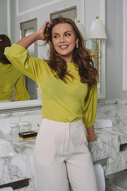 Day Birger Et Mikkelsen Whitney 3/4 Sleeve Sweet Lime T-skjorte
