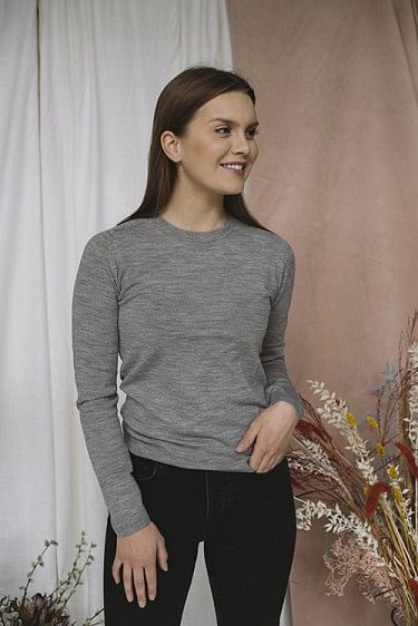 Whitney Ls O-Neck Medium Grey Melange