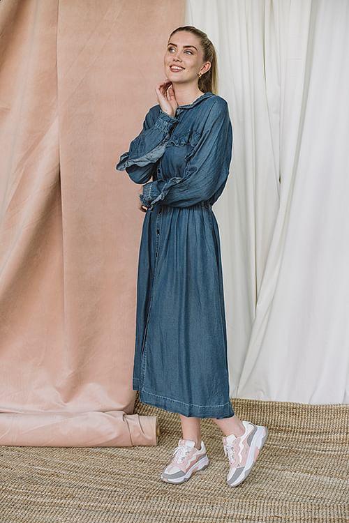 Designers Remix Camden Ruffle Dress Medium Denim kjole