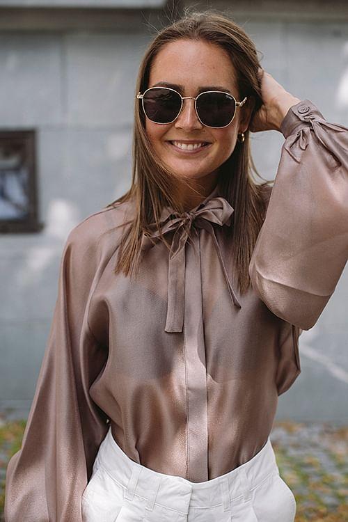 Designers Remix Enola Sleeve Shirt Taupe skjorte