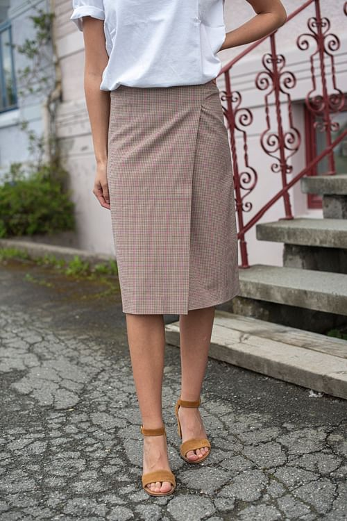 Designers Remix Babette Pencil Skirt Brown/Pink skjørt