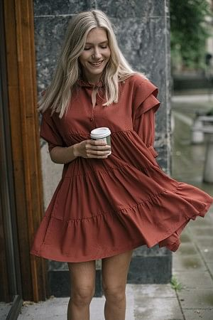 Byron Layered Dress Ox Blood