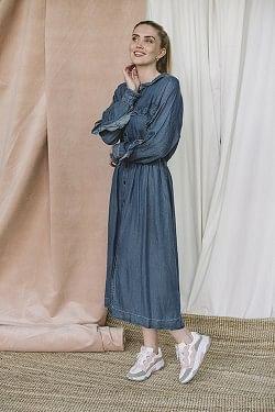 Camden Ruffle Dress Medium Denim