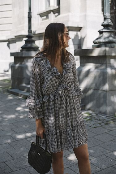 Kiely Short Dress Black/White Dress