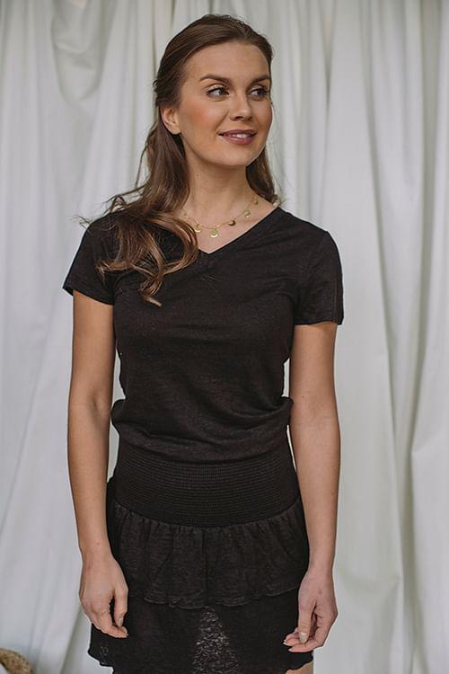 Ella&Il Alethe Linen Tee Black, T-skjorte