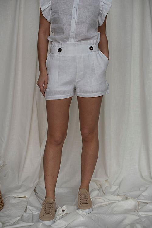 Ella&Il Emilia Linen Shorts White linshorts