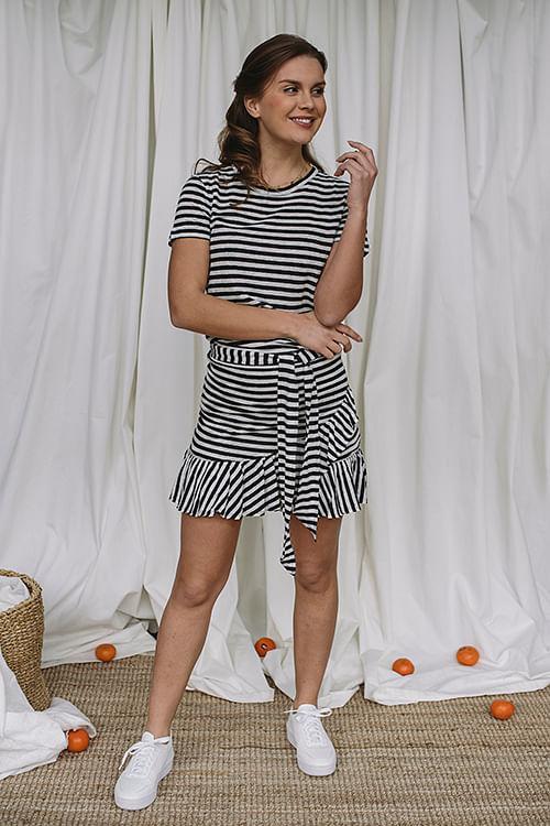 Juliette Linen Skirt Navy Stripes