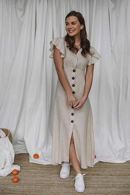 Ella&il Talia Linen Dress Beige kjole