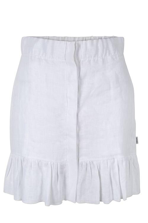 Ella&il Hana Linen Skirt White miniskjørt