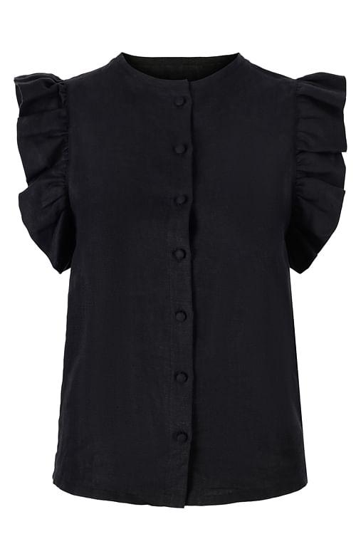 Ella&il Pauline Linen Shirt Black lintopp