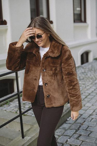 Anna Fake Fur Jacket Brown