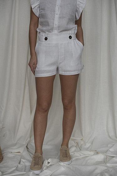 Emilia Linen Shorts White