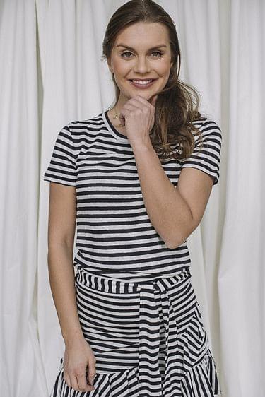 Jane Linen Tee Navy Stripes