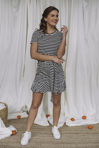 Juliette Linen Skirt Navy Stripes