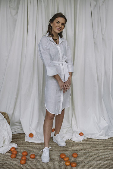 Leah Linen Dress White