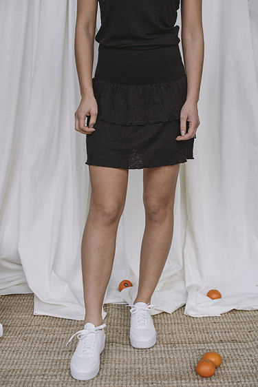 Lisbet Linen Skirt Black