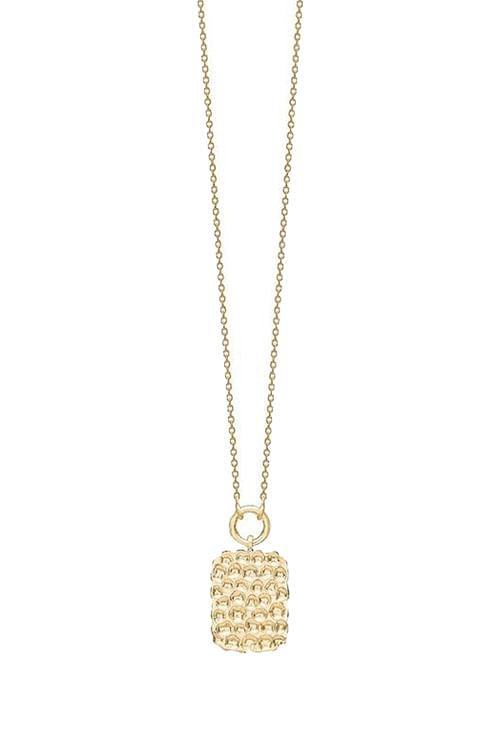 Enamel Hammered Pendant Necklace Gold