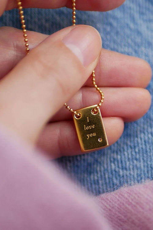Enamel Copenhagen I Love You Necklace Gold smykke