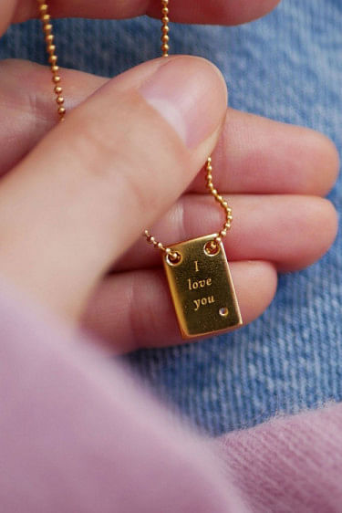 I Love You Necklace Gold
