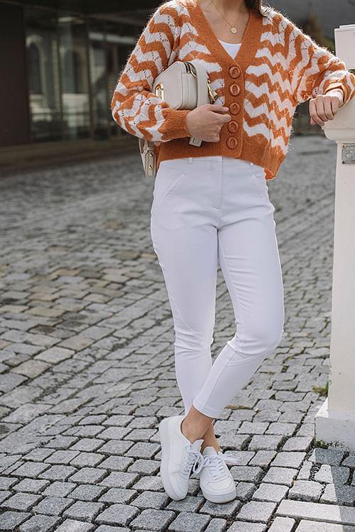 Fiveunits Angelie 238 Zip White Jeggin bukse