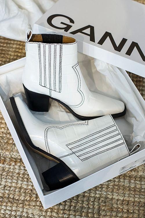 GANNI Callie Ankle Boots Bright White støvletter
