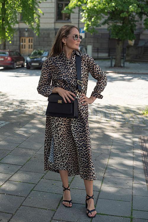 GANNI Printed Cotton Poplin Dress Leopard kjole