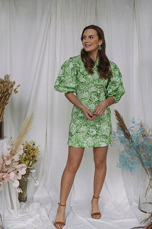 Printed Cotton Poplin Mini Dress Island Green