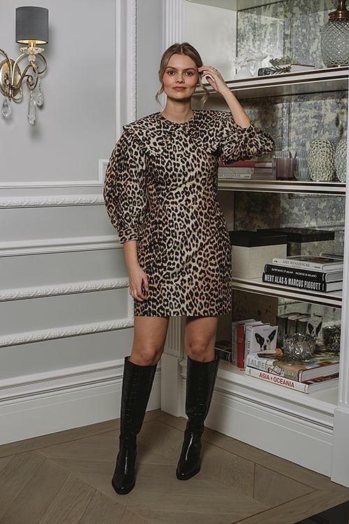 GANNI Printed Cotton Poplin Mini Dress Leopard kjole