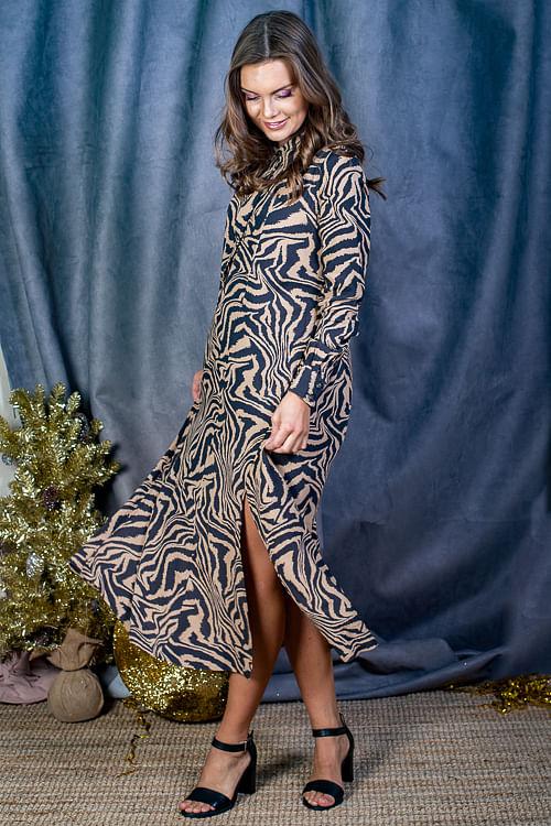 GANNI Printed Crepe Shirt Dress Tannin kjole