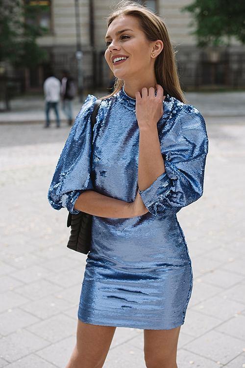 GANNI Sequins Dress Forever Blue kjole