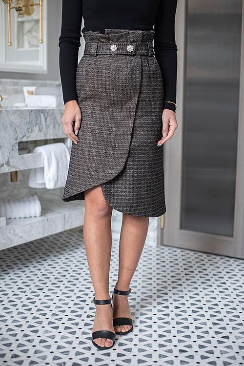 GANNI Slub Suiting Skirt Black skjørt