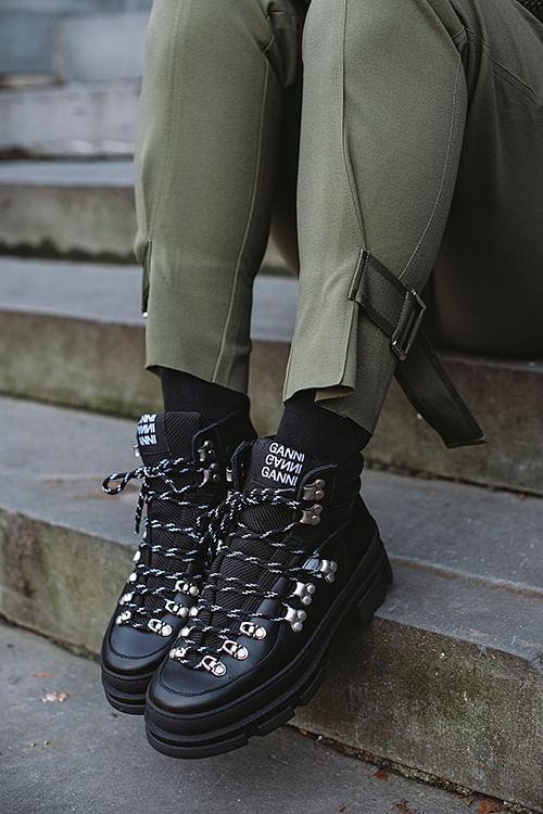 Ganni sporty hiking støvler sort
