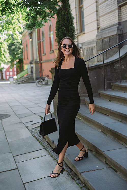 GANNI Viscose Jersey Maxi Dress Black kjole