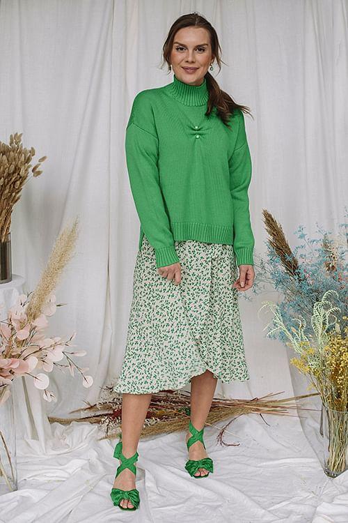 GANNI Wool Knit Sweater Green genser