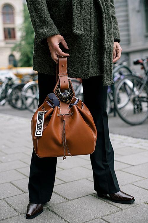 Large Drawstring Bag Cognac