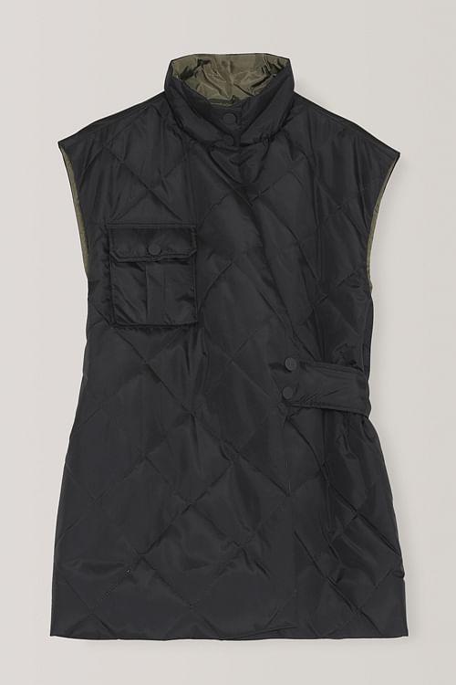 GANNI Recycled Ripstop Quilt Vest Phantom boblevest