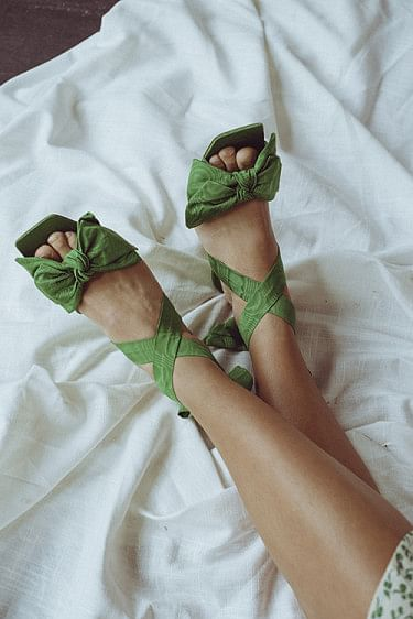 Heeled Bow Sandals Island Green