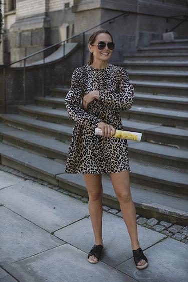 Cotton Silk Mini Smock Dress Leopard