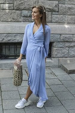 Printed Georgette Wrap Dress Forever Blue